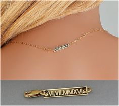 Check out Gold Tag Necklace, Personalized Tiny Bar Tag, Engraved Additional Tag, Personalized Necklace Date, Add-On, Gold, Rose Gold, Sterling Silver on goldenbijoux