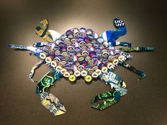 Blue Crab Beer Cap & Can Art by BrewArtByBill on Etsy