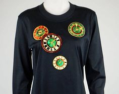 Escada by Margaretha Ley vintage cotton blouse hoodie clocks sequins embroidered oversize -    Edit Listing  - Etsy