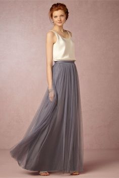 Louise Tulle Skirt from @BHLDN Is this the kind of gray you had in mind? It's called hydrangea and you can order free sample swatches from BHLDN. Also what do you think about doing a gray skirt and then incorporating whatever bodice you think best fits your color scheme - I remember you mentioned wanting to have gray and yellow