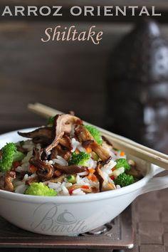 Arroz con verduras y  setas shiltake