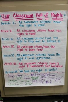 Create your own classroom Bill of Rights