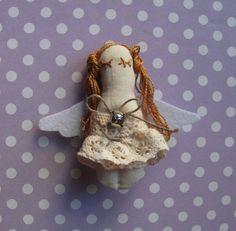 Handmade angel brooch