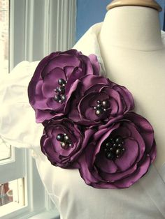 fabric flower brooch four bloom corsage pin in by RiRiFisch, $130.00
