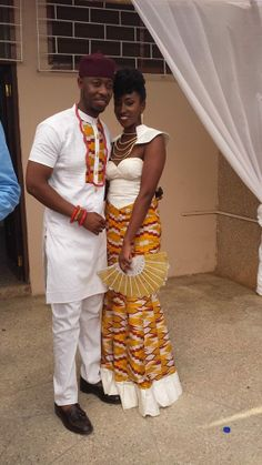 Cyril and Elizabeth celebrate their engagement in contemporary Ghanaian attire
