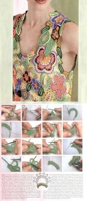 Patrones Crochet: Patron Crochet Top Flores en Relieve