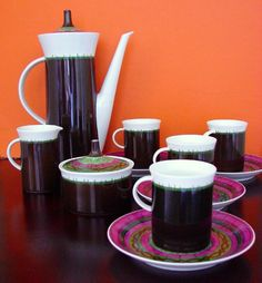 VTG ROSENTHAL by EMILIO PUCCI Coffee Expresso China Service for 4 RARE 13pc Set #RosenthalStudioLiniebyEmilioPucci