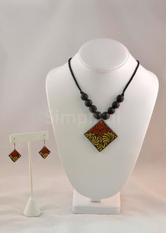 Terracotta Diamond Shaped Necklace and Earring set