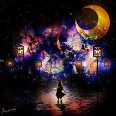 来自画师「ハラダミユキ」的华丽星空治愈冷色系插画----« • 一个人站在无边的星空下,孤单无力,你可知我用尽了一生的缘分只是想抱一抱你?