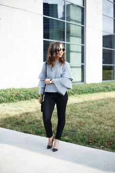 A Dash of Details - gray ruffle sleeve sweater