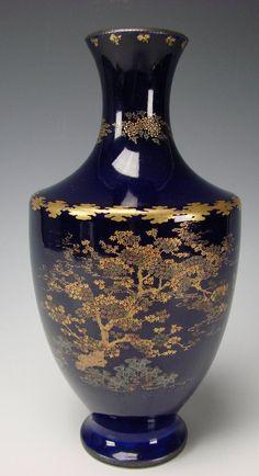 Meiji Period Japanese Satsuma Cobalt Blue Pottery Vase