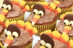 Candy Corn & Chocolate Thanksgiving Turkey Cupcakes