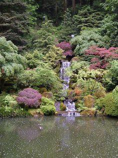 Waterfall, Japanese Garden, Portland, Oregon. by grampymoose, via Flickr