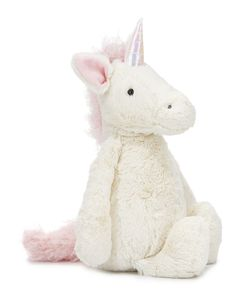 "Jellycat ""Bashful Unicorn"" plush toy features shimmering horn, squishy hooves, and curly mane/tail. Extra-soft, cuddle-ready with perky ears and rounded belly. Plastic pellet fill keeps animal sitting"