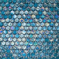 Peacock blue iridescent penny round glass mosaic tile for wall, backsplash, shower floor and pool waterline. Penny Round Tiles, Penny Tile, Blue Mosaic Tile, Mosaic Glass, Glass Pool Tile, Swimming Pool Tiles, Pool Remodel, Pool Installation, Pool Designs