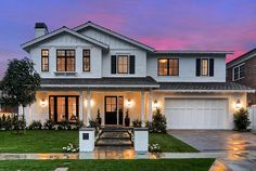 Home Exterior Paint Color. The contrast of white siding and black trim makes this Southern California home a stand out. #HomeExterior #HomeExteriorPaintColor