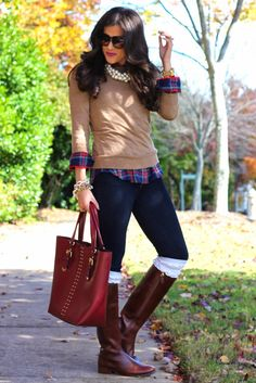 Camel colored sweater. Plaid shirt. Skinnies. Short chunky necklace. Big fabulous tote. Boots.