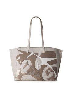 AKRIS AI MEDIUM LASER-CUT TOTE BAG. #akris #bags #shoulder bags #hand bags #canvas #leather #tote #