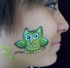 owl cheek art face painting