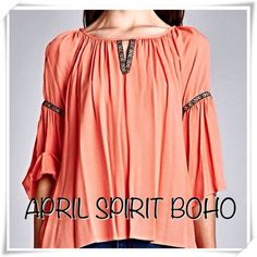 April Spirit BOHO Top w/ Bell Sleeves in Coral BEAUTIFUL BOHO BLOUSE IN CORAL                 Just in time for Spring                                  100% poly.                                                            true to size comfortable fit                                  other sizes available as separate listings in my closet                                                                   brand new bought for retail w/o tags - designer does not tag April Spirit Tops Blouses