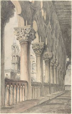 Loggia of the Ducal Palace, Venice Artist: John Ruskin (British, London Brantwood, Cumbria) Date: Medium: Watercolor over graphite Dimensions: Sheet: 18 × 11 in. Architecture Antique, Architecture Drawings, John Ruskin, Modelos 3d, Wow Art, Canvas Prints, Art Prints, William Morris, Art Design