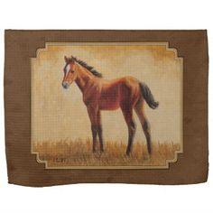 Bay Quarter Horse Foal Kitchen Towels