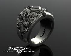 Heavy engraved sculpted unique mens wide black diamond and