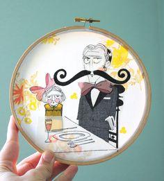 A Serious Dinner Applique Embroidery Hoop Wall Art