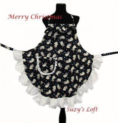 APRON $39.95 —  ANGEL HOSTESS APRON with Cherubs, Crowns, Praying Hands, Night Sky, Stars, Dark Blue, Light Blue, Golden Robes, Lush White Eyelet Lace  Ruffles, Shiny Pearl-Like Buttons,  — Size Medium to Large, One-of-a-Kind Delightfully Handmade ...  #apron #Christmas #angels # Christmas_food  http://www.zibbet.com/SuzysLoft/artwork?artworkId=1058298