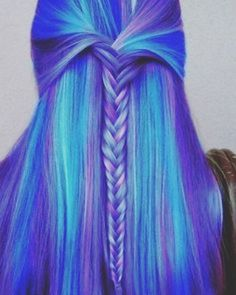 19 Fishtail Hairstyles for that hip look  Hairstyle Monkey Hair Color Purple, Cool Hair Color, Color Blue, Blue Ombre, Purple Teal, Amazing Hair Color, Blue Green, Hair Color Quiz, Light Ombre