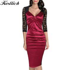 cc98b2108a Kostlish Women Summer Dress Elegant Vintage Bodycon Pencil Dress 2017  Fashion Rockabilly Lace Sleeve V Neck