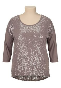 3/4 Sleeve Sequin front Lace Back plus size Top in sparrow