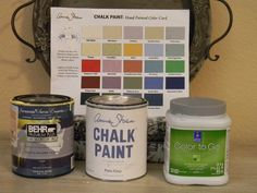 Latex paint colors that match the color of Annie Sloan paints.  Add in some Webster's Chalk Paint Powder and voila!  You have chalk paint for about 35% less!