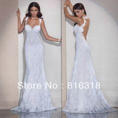 Vestido De Noiva Free Shipping Mermaid Open Back Lace Wedding Dresses Sexy Backless Wedding Dress 2014 Vestido De Casamento $207.00
