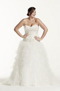 Strapless Tulle Ball Gown with Ruffled Skirt 9V3665