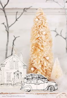 Thoughts from Alice: DIY Printable Christmas Village {Anthropologie Inspired} Diy Christmas Village, Christmas Villages, Outdoor Christmas Decorations, Christmas Love, Homemade Christmas, Winter Christmas, All Things Christmas, Vintage Christmas, Scandi Christmas