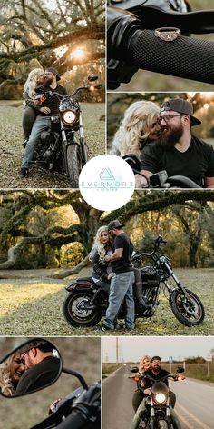 Motorcycle Engagement Photos, Motorcycle Wedding Pictures, Motorcycle Photo Shoot, Engagement Photo Poses, Engagement Pictures, Engagement Photography, Biker Photoshoot, Couple Photoshoot Poses, Couple Photography Poses