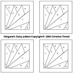Paper Piecing Patterns Free Printables | Paper Pieced Daisy (Margaret's Daisy)                                                                                                                                                                                 Más