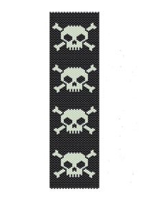 Pirate logo, Skulls and bones peyote pattern for a peyote cuff, made using black and white seed beads,  the measurements for the floral cuff are (1.86in x 6.71in). It can be re-size if you request it.    The PDF file includes    1. Bead Chart(Large)  2. Bead legend  3. Word chart    The Skulls and Bones Peyote pattern is design using Mikuyi Delicas