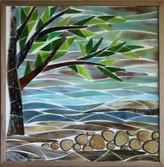 Maplestone Gallery ~ Contemporary Mosaic Art  ~ 'Georgian Bay Morning' by Jean Loney