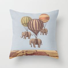 Escape of the Circus Elephants  Throw Pillow