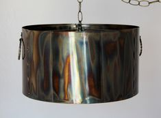 Rustic Neo Gothic Metal Pendant Light Swag Lamp Industrial Vintage Warehouse Hanging Lamp , Custom Sizes & Shapes Up To Wide, USA American Made in beautiful Lincolnton North Carolina Plug In Pendant Light, Rustic Pendant Lighting, Drum Pendant, Vintage Drums, Swag Light, Metal Drum, Gothic Metal, Lamp Shades, A Table