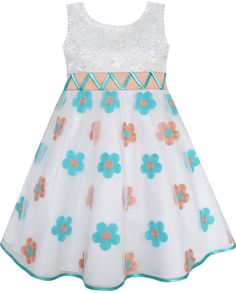 Girls Dress Shinning Daisy Apricot Tulle Party Pageant Kids Clothes 2-10 New #SunnyFashion #Party