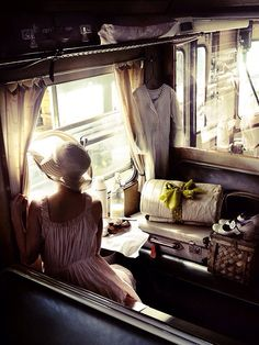 "Looking through the windows of the Orient Express. ""We travel, some of us forever, to seek other states, other lives, other souls."" (via Orient Express) Simplon Orient Express, Slow Travel, Time Travel, Train Rides, Train Trip, Train Journey, Train Car, Girl Train, Blue Train"