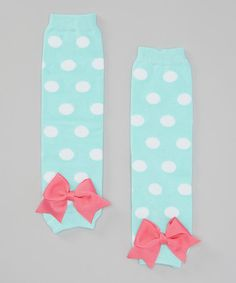 Loving this Aqua & White Polka Dot Leg Warmers on #zulily! #zulilyfinds