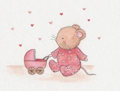 Tiny mouse and her first pram