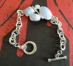 Vintage  blue  lace  agate  bracelet   BellaWorxJewelry - Jewelry on ArtFire