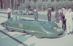 Goldie Gardner in the MG EX135 going out to set speed record on the autobahn in Dessau, Germany in 1939.