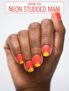 Nail Art How-To: Neon Studded Mani