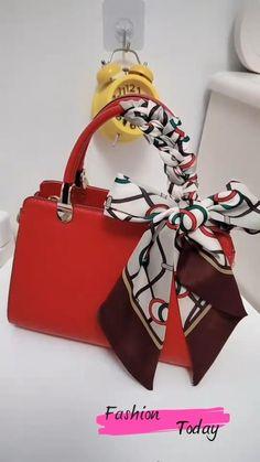 Scarf On Bag, Diy Scarf, Scarf Wearing Styles, Scarf Styles, Diy Belt For Dresses, Scarf Packaging, Fashion Bags, Fashion Accessories, Diy Fashion Hacks